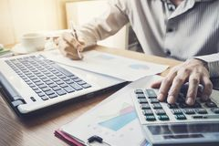 Businessman working on Desk office business financial accounting Stock Photos