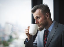Businessman Working Determine Workspace Lifestyle Concept Royalty Free Stock Photos