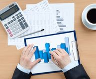 Businessman working with diagram Royalty Free Stock Images