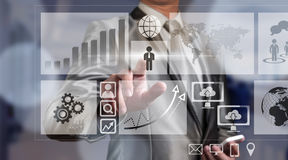 Businessman working with digital chart, business improvement con Royalty Free Stock Image