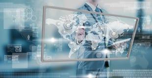 Businessman working on digital screen, new generation technology Stock Photos