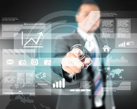 Businessman working with digital virtual screen royalty free stock photo