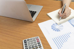Businessman working with document on office desk Stock Images