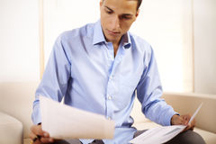 Businessman working with documents Stock Photos