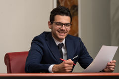Businessman Working With Documents In The Office Stock Image