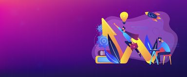 Start up launch concept banner header. stock illustration