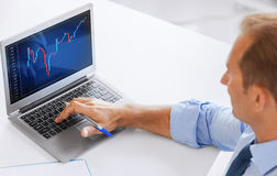 Businessman working with forex chart in office Royalty Free Stock Image