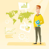 Businessman working in global business. Businessman taking part in global business. Businessman standing on the background of world map. Global business and Royalty Free Stock Image