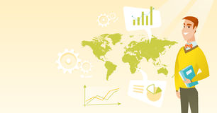 Businessman working in global business. Businessman taking part in global business. Businessman standing on the background of world map. Global business and Stock Image