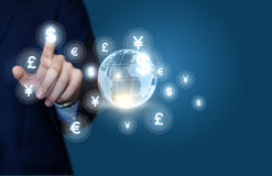 Businessman working in the global financial market. Royalty Free Stock Image