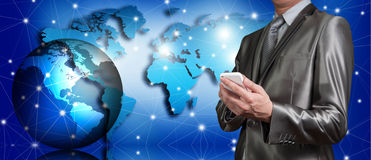 Businessman working with globalization concept Royalty Free Stock Images