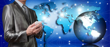 Businessman working with globalization concept Royalty Free Stock Photos
