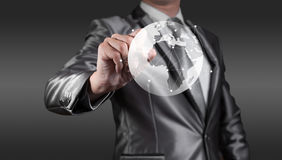 Businessman working with globalization concept, show Africa Cont Royalty Free Stock Photos