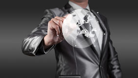 Businessman working with globalization concept, show Europe Cont Stock Photography
