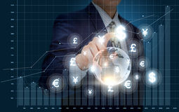 Businessman working with graph statistic. Stock Photo