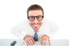 Businessman working at his desk Stock Images