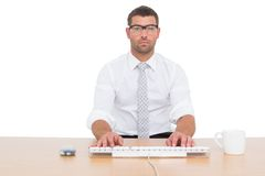 Businessman working at his desk Stock Photography