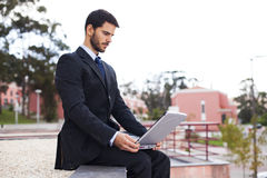 Businessman working with his laptop Royalty Free Stock Photo