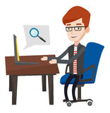 Businessman working on his laptop. Young caucasian businessman working on his laptop in office and searching information on internet. Internet search and job Royalty Free Stock Photo