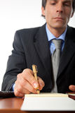 Businessman working in his office stock photo
