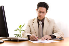 Businessman working at his office Royalty Free Stock Image