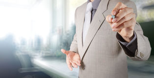 Businessman working with his office  background Royalty Free Stock Image