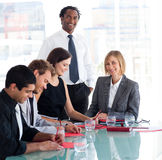 Businessman working with his team Royalty Free Stock Image