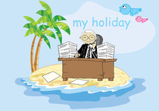 Businessman working in holiday Royalty Free Stock Photography