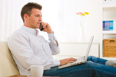 Businessman working at home Royalty Free Stock Photography