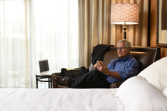 Businessman Working Hotel Room Stock Photo