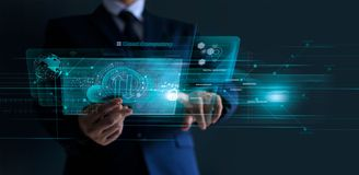 Free Businessman Working In Financial Trading And Digital Marketing With A Cloud Computing On Modern Virtual Interface, Cyber Security, Stock Photos - 162019893