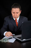 Businessman is working on the internet Stock Photo