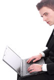 Businessman working with laptop Royalty Free Stock Images