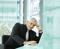 Businessman working with laptop Stock Photos