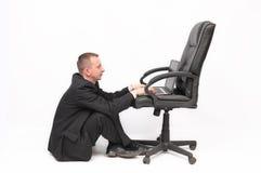 Businessman working on laptop. stock image