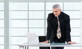 Businessman working on laptop Stock Photos