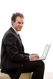 Businessman working on laptop Royalty Free Stock Image