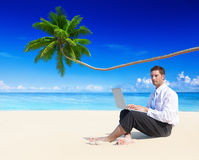 Businessman Working Laptop Beach Concept Stock Photo