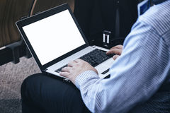 Businessman Working on Laptop Business Travel concept Stock Image