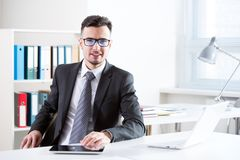 Businessman working with laptop Stock Photo