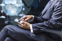 The businessman working with laptop in cloud computing concept Royalty Free Stock Images
