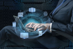 The businessman working with laptop in cloud computing concept Royalty Free Stock Photo