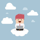 Businessman working on laptop on the cloud Royalty Free Stock Photo
