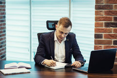 Businessman Working Laptop Connecting Networking Concept,Busines. Sman working with documents on office desk.Business concept.Businessman`s office Royalty Free Stock Photo