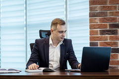 Businessman Working Laptop Connecting Networking Concept,Busines. Sman working with documents on office desk.Business concept.Businessman`s office Royalty Free Stock Images
