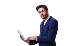 The businessman working with laptop isolated on white Stock Image