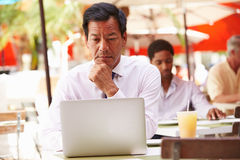 Businessman Working On Laptop In Outdoor Caf� Royalty Free Stock Image