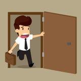 Businessman working late. Vector illustration stock illustration