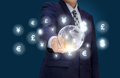 Businessman working in the market of Finance. Royalty Free Stock Image