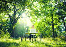 Businessman Working With The Nature Royalty Free Stock Photo